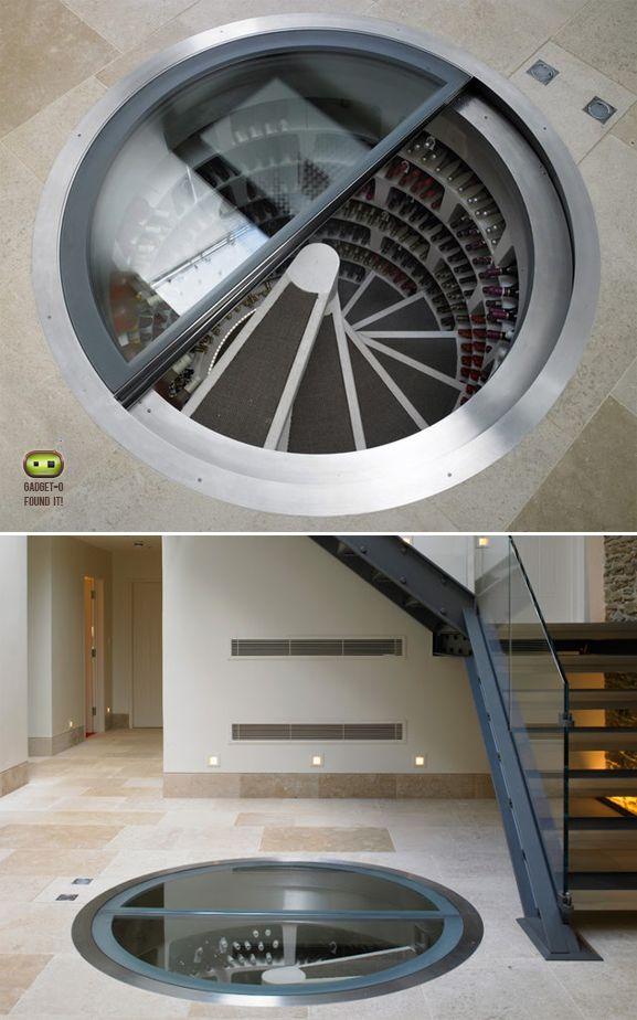 Spiral wine cellar - but with a hidden trapdoor.