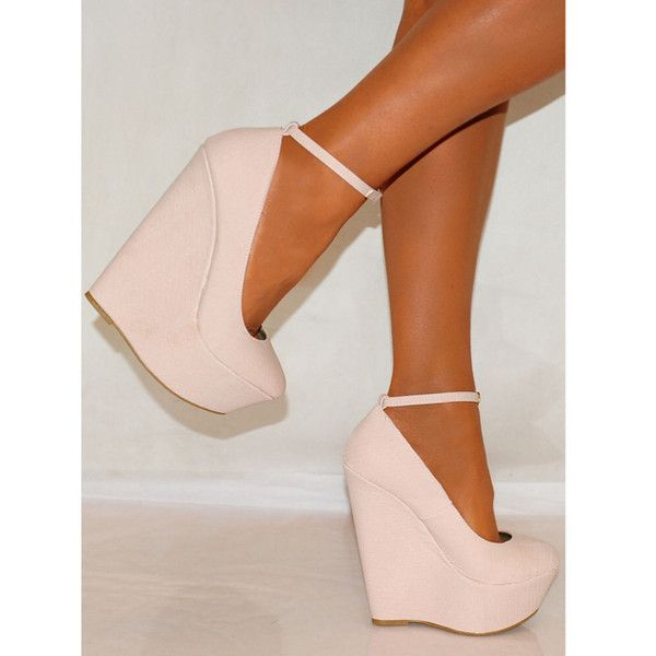 Light Pink Wedges ❤ liked on Polyvore featuring shoes, light pink wedge shoes, wedge heel shoes, wedge sole shoes, light pink shoes and wedge shoes