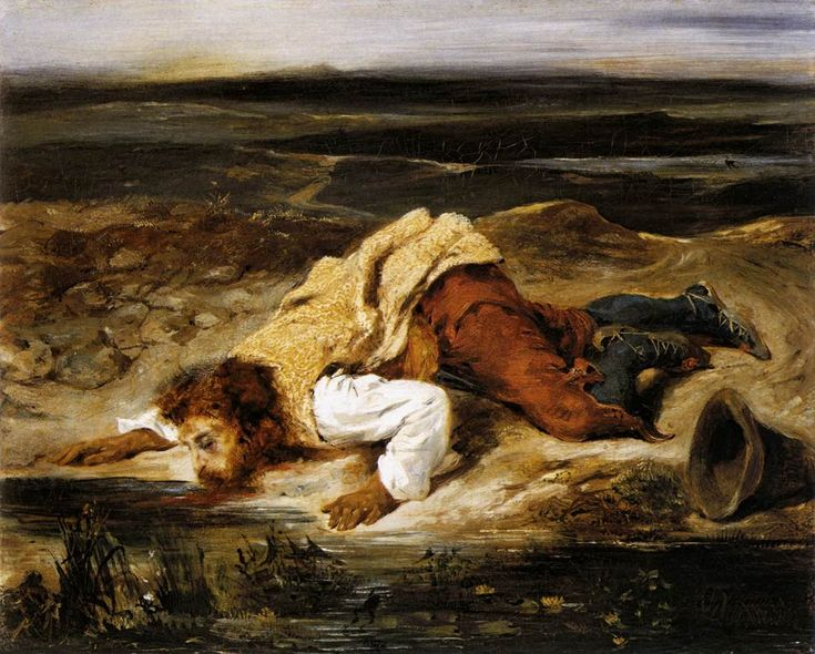 DELACROIX, Eugène A Mortally Wounded Brigand Quenches his Thirst c. 1825 Oil on canvas, 32,5 x 40,7 cm Öffentliche Kunstsammlung, Basel