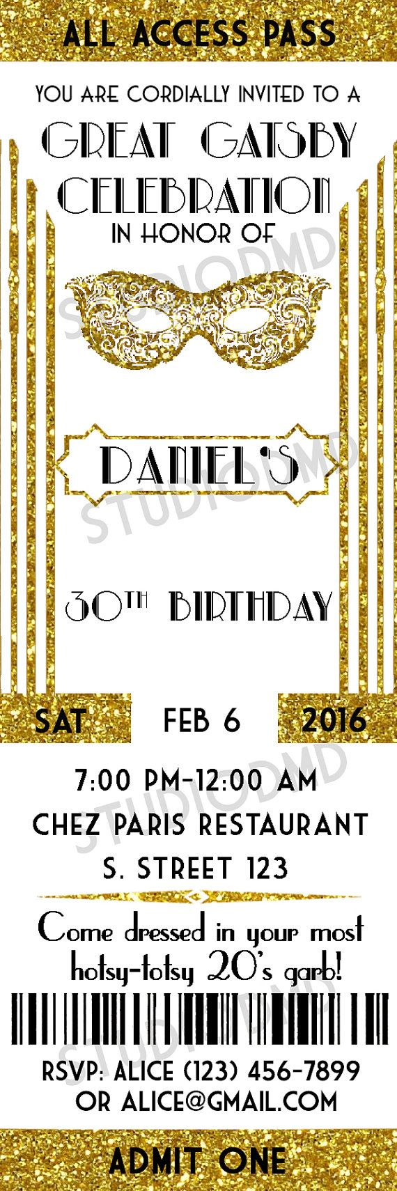 Great Gatsby Style Art Deco Party Invitation Masquerade