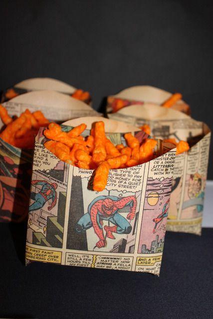 comic strip food pouches for little boy parties