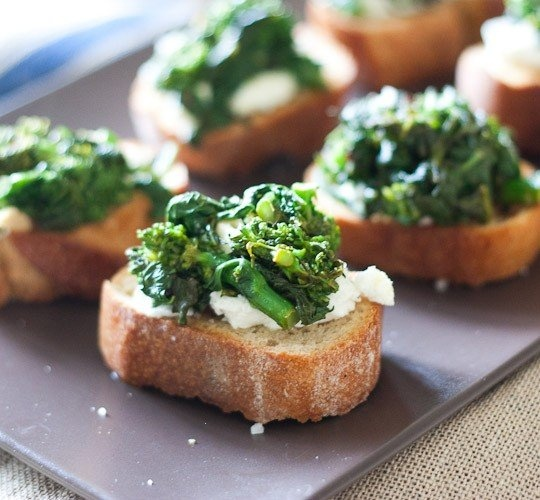 GOAT CHEESE RAPINI TOASTS | Unhealthy Food! | Pinterest | Goat Cheese ...