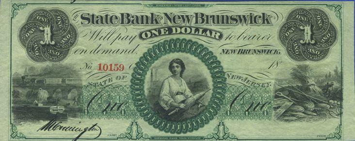 One dollar bill, State Bank of New Brunswick
