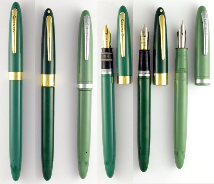 Some beautiful vintage green Shaeffer fountain pens. I love these shades of green.