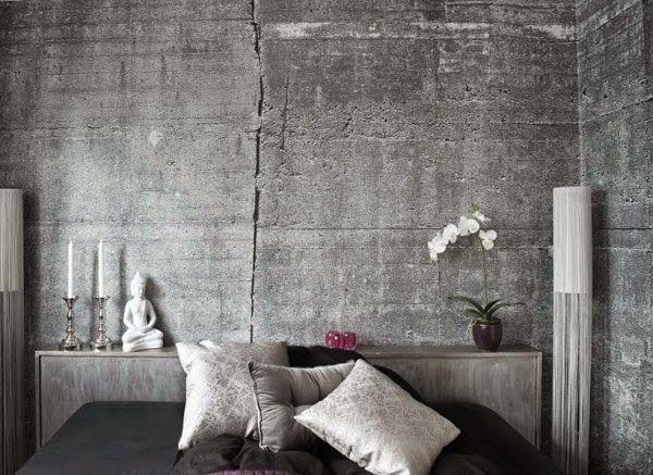 Betonlook behang cover muur