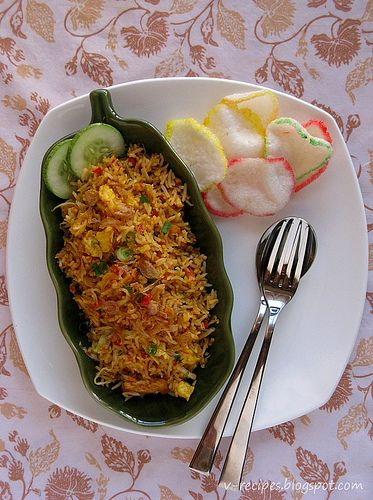 Indonesian fried rice  Nasi goreng with shrimp chips