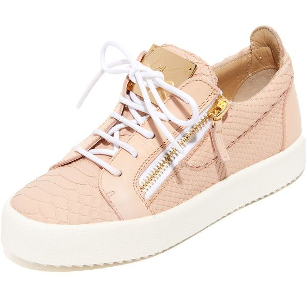 Giuseppe Zanotti Embossed Low Top Sneakers ($680) ❤ liked on Polyvore featuring shoes, sneakers, rosa, low profile sneakers, leather lace up shoes, giuseppe zanotti trainers, lacing sneakers and leather shoes