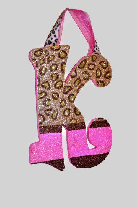 GLITTER Cheetah Print Pink Decorative Wall Letters wood by Sastara, $14.00