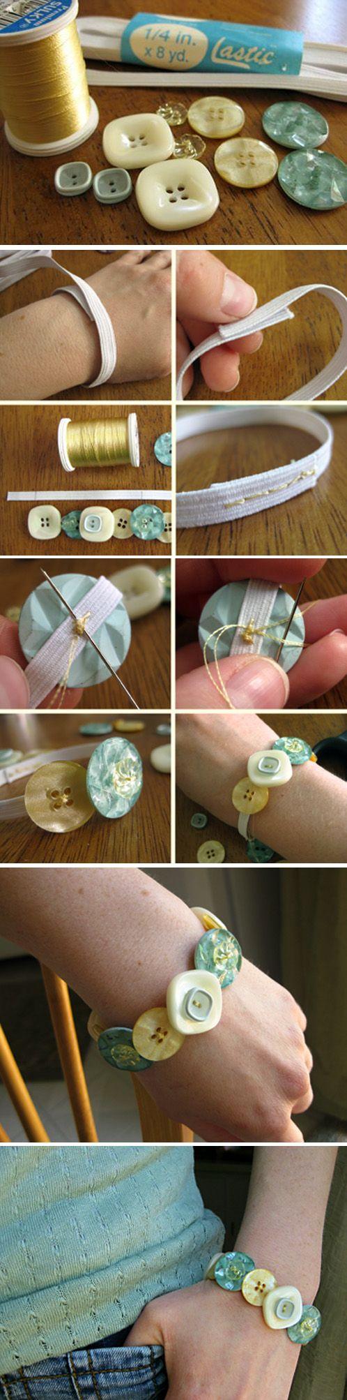 Sencilla pulsera DIY con botones de diferentes tamaños bracelet élastique avec des boutons ! simple et joli !