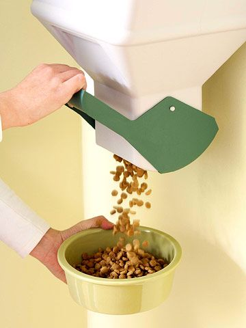 Wall-mount pet-food bins are convenient for storing dry kibble. Cat owners can use these bins to store litter products. If you have youngsters at home, be sure to mount this high enough to discourage curious little ones from reaching the handle.