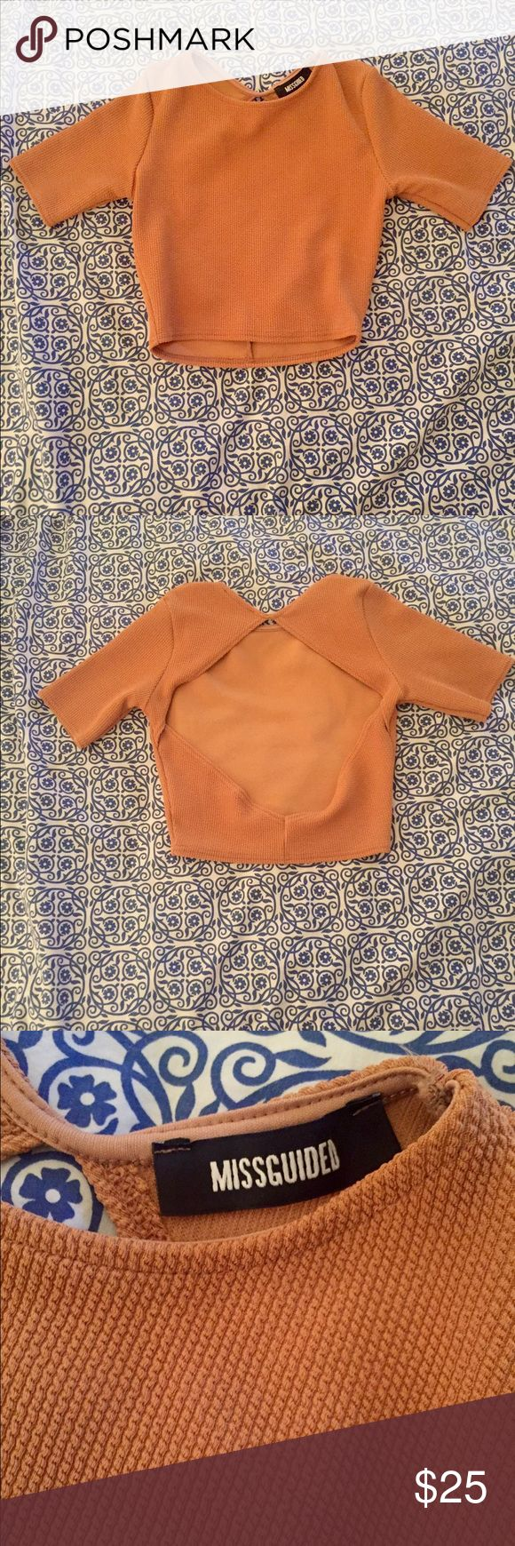 Camel crop top from missguided Textured camel crop top with open back detailing. Never worn as it is quite small Missguided Tops Crop Tops