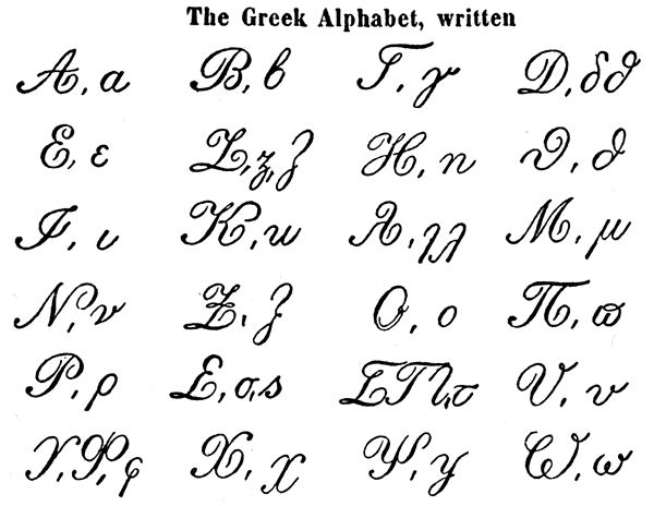 greek alphabet–handwriting