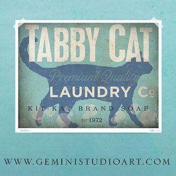 Tabby chat lessive société blanchisserie salle oeuvre giclée d'archives artistes signés imprimer par Stephen Fowler