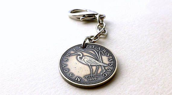 Hungarian coin charm Bird charm Bird jewelry Brass charm