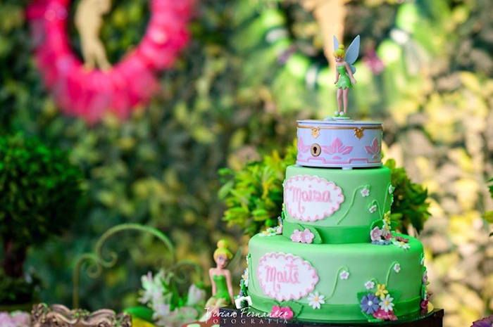 Cake from a Tinkerbell Fairy Garden Birthday Party via