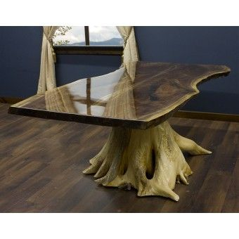 Black Walnut Slab Dining Table on Cedar Stump is a work of art.  No two slabs are the same and each hand peeled cedar stump is different.- Rustic dining