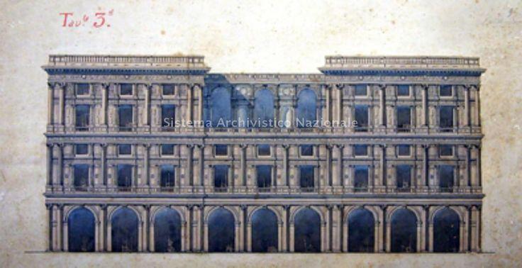 """913 - 1919 GENOVA (GE) PROSPETTO DELLA FACCIATA PRINCIPALE DEL PALAZZO DELLA NAVIGAZIONE GENERALE ITALIANA by ing. CESARE GAMBA con la collaborazione dell'ing. GIUSEPPE TALLERO (Centro di Servizio Bibliotecario di Architettura """"Nino Carboneri"""", Fondo Cesare Gamba)"""