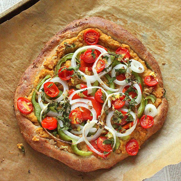 Chana Masala Hummus, cherry tomatoes, Veggies Rustic Pizza. vegan | Vegan Richa