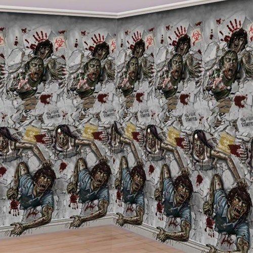 Zombie Vægdekoration Scene Setter Rulle Sæt. 2 stykker. Hvert stykke har størrelsen: 6 m lang og 1,2 m højt. Kan bruges inde og ude. Tyndt plastik der sættes på væggen med klisterbånd, lim, elefantsnot eller tegnestifter. Imponerende udsmykning på væggen til den ultimative halloween fest eller anden temafest med spøgelser, scary movies, zombier mm.
