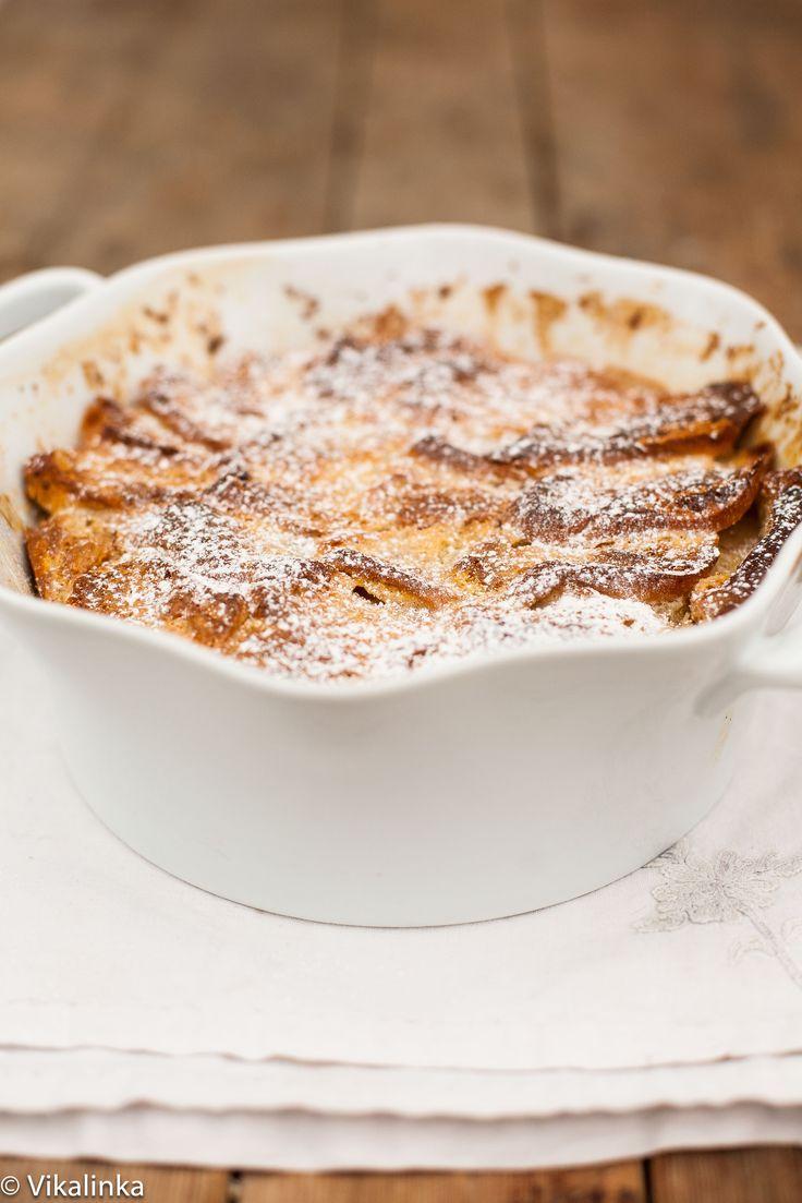 Eggnog White Chocolate Brioche Pudding