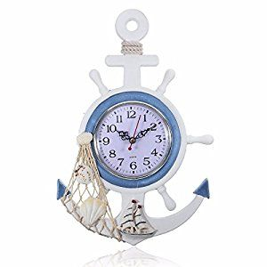 Amazon.com: Jeteven Wood Mediterranean Style Wall Hanging Clock Home Living Room Bedroom Office Cafe Art Decor: Sports & Outdoors