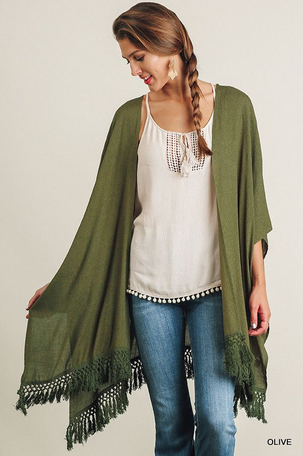 Looking for cardigan to wear over your favorite pattern top? Our new open front olive cardigan is perfect. The crochet detail and fringe hemline adds just the right amount of detail.