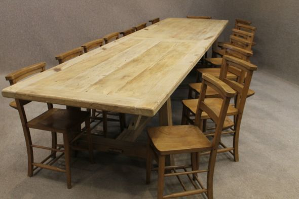 large 4m long rustic reclaimed pine farmhouse table with