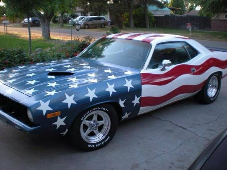 nothing says america like a muscle car paint it like a flag and look out hot cars. Black Bedroom Furniture Sets. Home Design Ideas