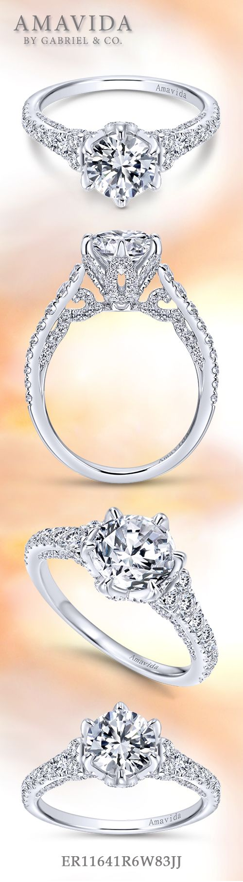 Amavida by Gabriel & Co. - Voted #1 Most Preferred Bridal Brand. This alluring engagement ring includes a reverse tapered band, adorned with pave diamonds that gives it a vintage-esque look.