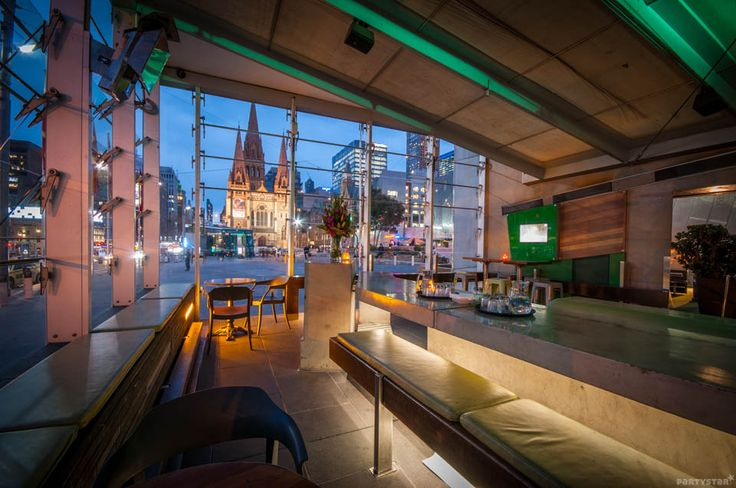 NEW! Transport #Melbourne, VIC. The front Sunroom is a supreme private area which overlooks iconic Flinders Street Station. It gives your guests an exclusive bar and gorgeous sparkling city views. #Partystar #functionroom #21stbirthday #privatebar #FlindersStreetStation