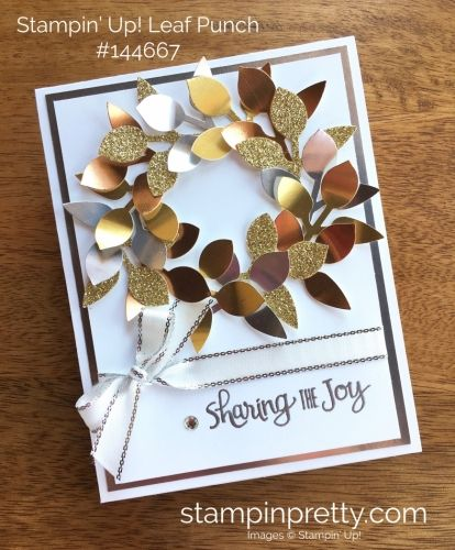 Ready for Christmas Stamp Set & Leaf Punch Christmas Card. Read more https://stampinpretty.com/2017/09/wow-video-leaf-punch-wreath-metallics.html