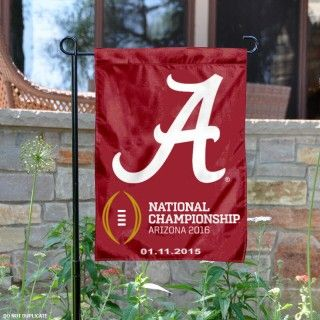Alabama 2016 NCAA Football Championship Garden Flag is 13x18 inches in size, made of 2-ply poly, and screen printed logos. Our Alabama 2016 NCAA...