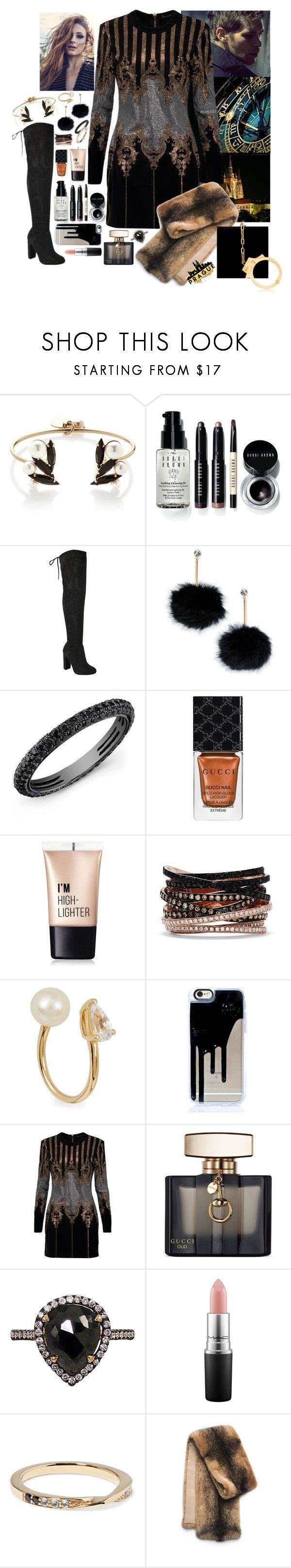 """A Night In Prague"" by leo8august ❤ liked on Polyvore featuring Anton Heunis, Bobbi Brown Cosmetics, Louis Vuitton, Kate Spade, Gucci, Charlotte Russe, Effy Jewelry, Anissa Kermiche, Balmain and Mike Saatji"
