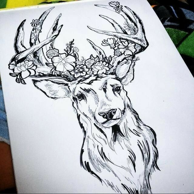 Deer With Bloom Horns
