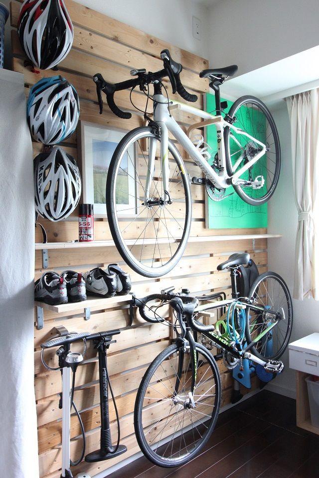 ロードバイク3台 Diyで室内に収納スペースをつくりました 自転車 壁掛け 自転車 室内 玄関 壁面収納