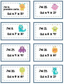 "French ""I Have, Who Has?"" J'ai, Qui A? Multiplication"