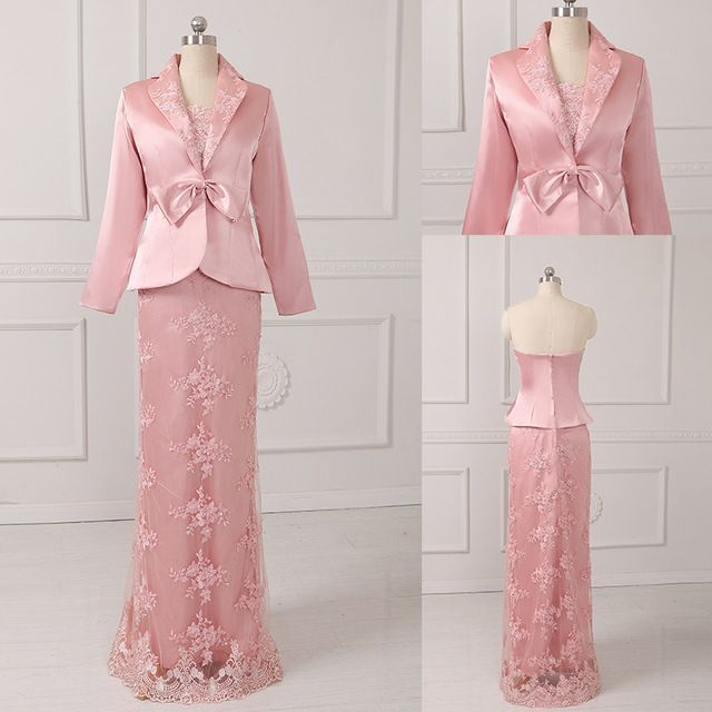 High Quality Strapless With Bow Jacket Appliques Beading Satin Mother Of Bride Dresses 2016 New Arrival US $60.00-78.0  Click link to buy other product http://goo.gl/p8JMyk