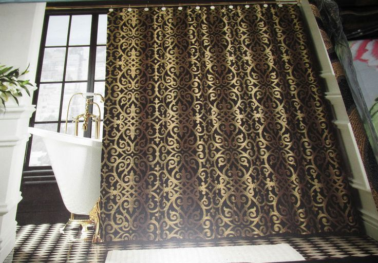 Black And Gold Curtain Fabric Black and White Print Shower C
