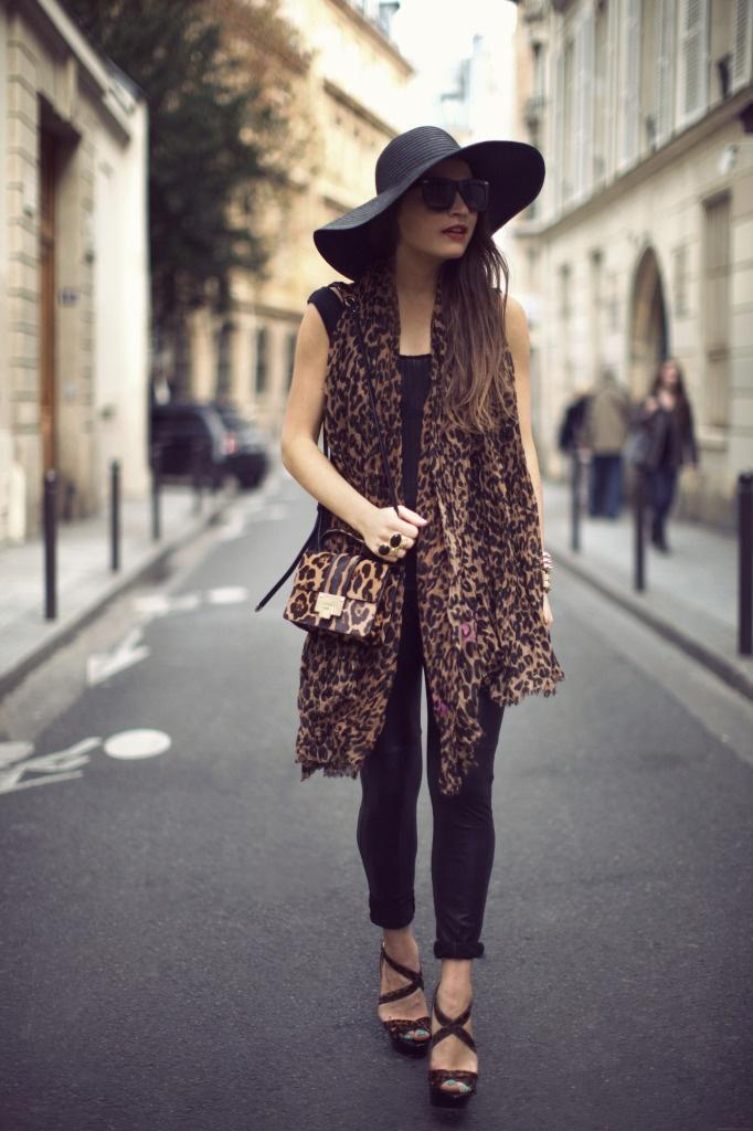 What I'm Wearing: LNA Tank Top, Zara Leather Leggings, ASOS Hat,Grey Ant Sunglasses,Louis Vuitton Leopard Scarf + Jimmy Choo Heels & Bag