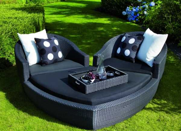 14 Romantic Furniture Designs for the 14th- Ravello Heart Outdoor Lounge Set.  The Ravella heart-shaped lounge is made especially for occasions like the 14th. This set includes 2 armchairs with a footstool that completes a broken heart.