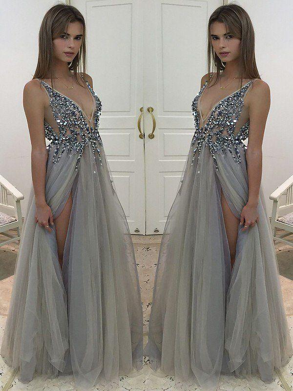 2982b641333d A-Line Princess V-Neck Sleeveless Floor-Length Beading Tulle Dresses - Prom  Dresses - Hebeos Online