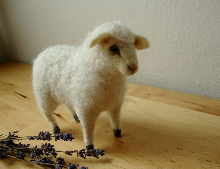 Needle Felted Wool Sheep Fiber Art By Erin Needle