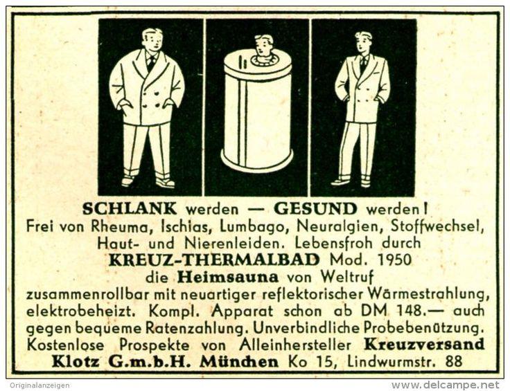Original-Werbung/ Anzeige 1951 - KREUZ THERMALBAD / MÜNCHEN -ca. 60 X 45 Mm - Werbung