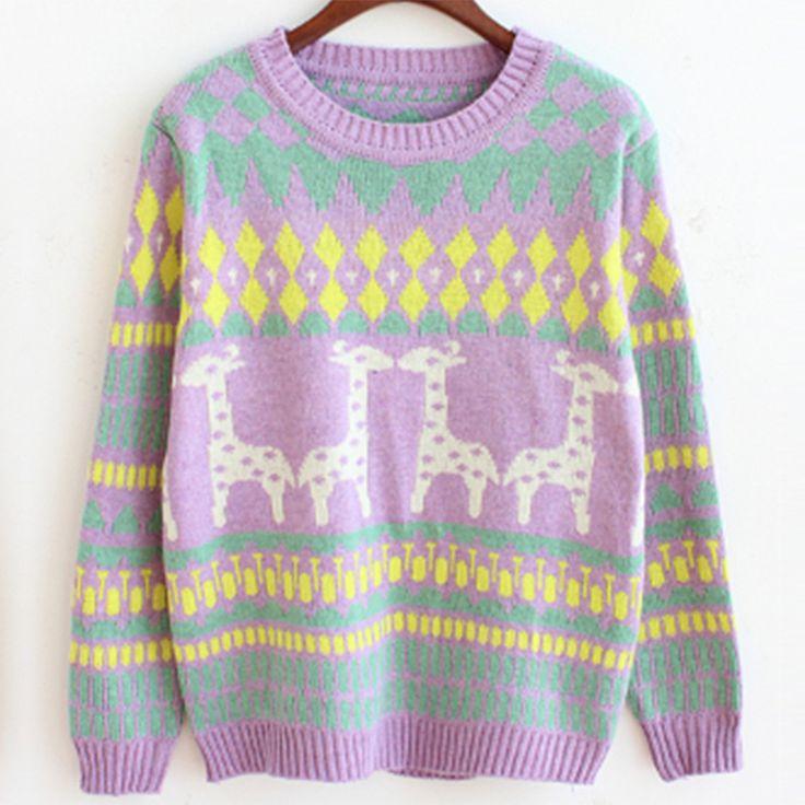 Yzfrks Европейский Стиль маленькие олени мультфильм Свитера для девочек длинные свободные рукава красочные вязаная рубашка универсальная Пуловеры свитер
