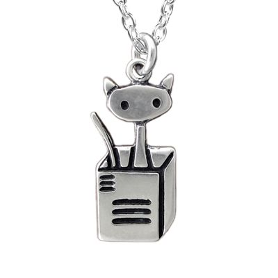 Cat in a Box Sterling Silver Charm Necklace by Mark Poulin