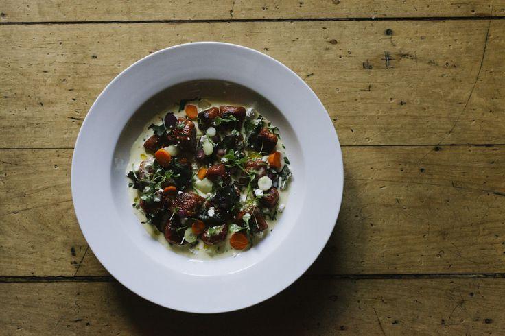 Beetroot gnocchi, glazed heirloom carrots, buffalo feta, kale, creamy garlic sauce & amoretti (v)