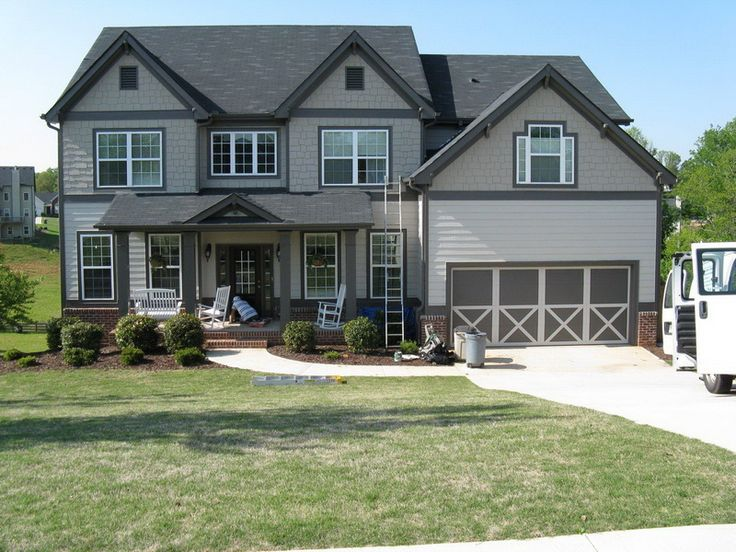 dark gray trim light gray siding outside house paint on exterior home paint ideas pictures id=17262