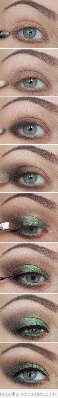Maquillaje de ojos con sombra verde, paso a paso | Maquillarse los ojos | Todo para aprender cómo maquillarse los ojos