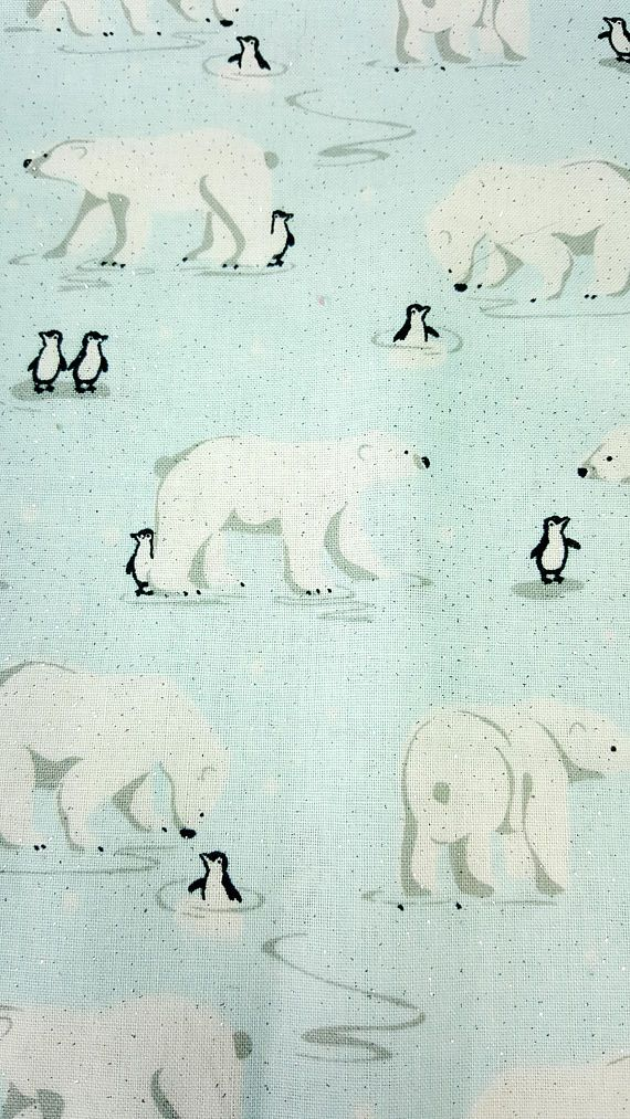 A darling wintery print with polar bears and penguins. Fabric is a little glittery, but not obscenely so. Even though you will never find penguins and polar bears living together in the wild, they are hanging out together in this lovely winter fabric ;) Perfect for winter holidays.  This is new (unused) cotton apparel/quilting weight fabric cut to order. Perfect for apparel, quilting, table linens, home textiles, and craft projects. Care: Machine Wash Cold. Dry Low. SIZE & QUANTITY: ...
