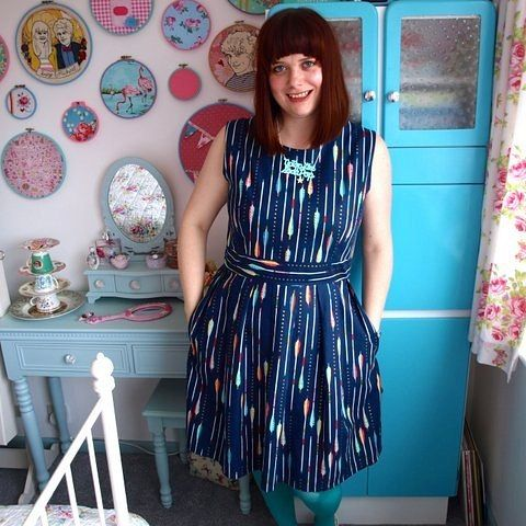 Gather Kits Mortmain handmade dress in Cotton & Steel arrow print from the Mustang collection